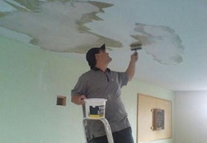 Удаление жёлтых пятен на стенах и потолке